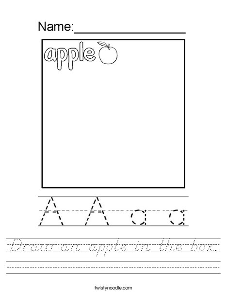 Draw an apple in the box. Worksheet