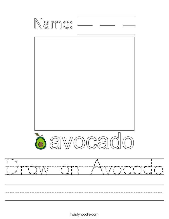 Draw an Avocado Worksheet