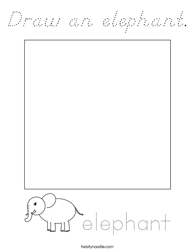 Draw an elephant. Coloring Page