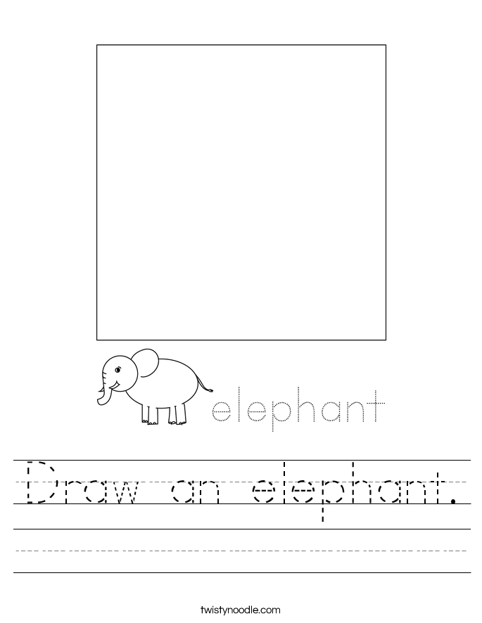 Draw an elephant. Worksheet
