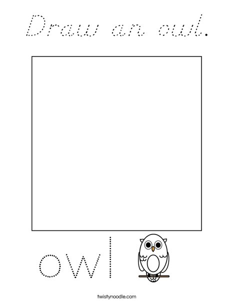 Draw an owl. Coloring Page