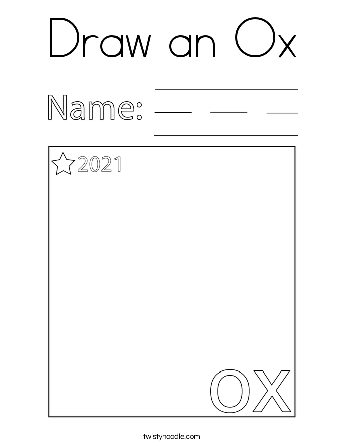 Draw an Ox Coloring Page