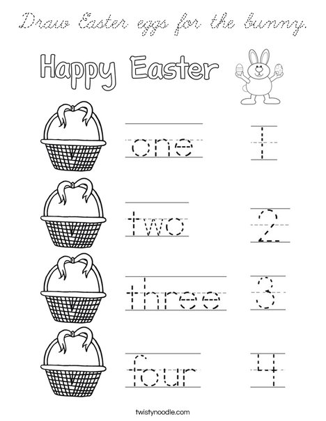 Draw Easter eggs for the bunny. Coloring Page