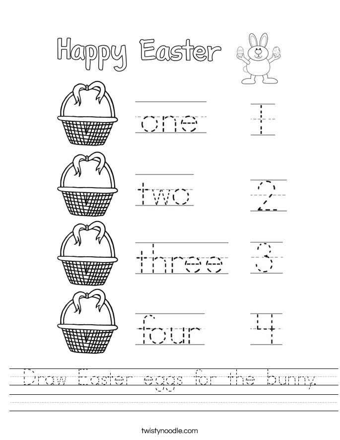 Draw Easter eggs for the bunny. Worksheet