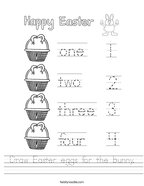 Draw Easter eggs for the bunny Handwriting Sheet