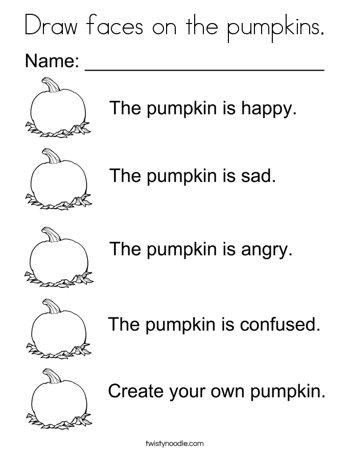 Draw faces on the pumpkins. Coloring Page