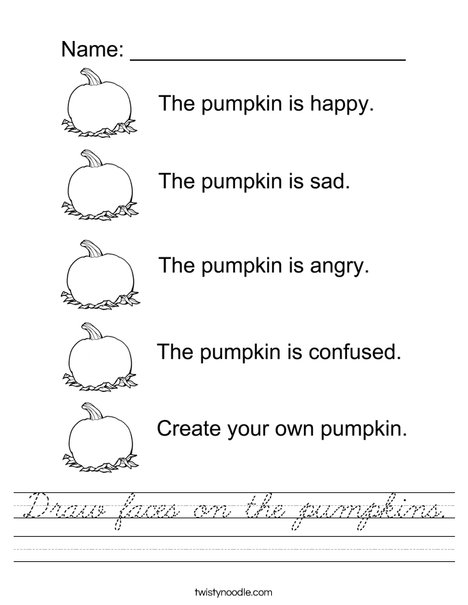 Draw faces on the pumpkins Worksheet