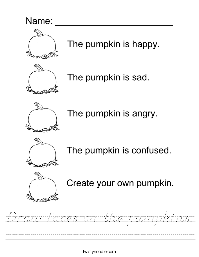 Draw faces on the pumpkins. Worksheet
