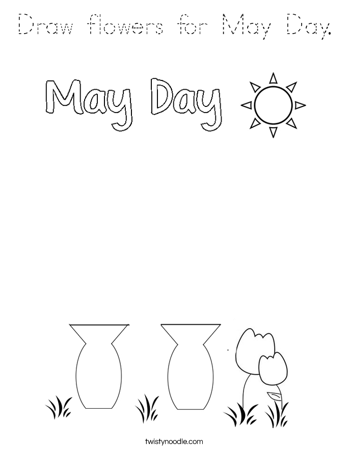 Draw flowers for May Day. Coloring Page