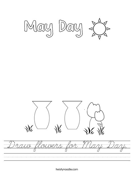 Draw flowers for May Day. Worksheet
