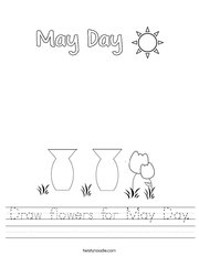Draw flowers for May Day Handwriting Sheet