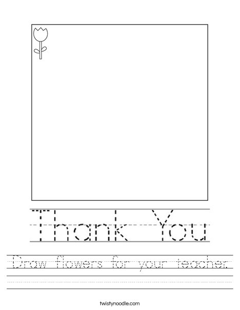 Draw flowers for your teacher. Worksheet
