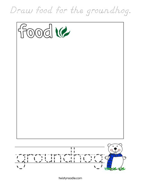 Draw food for the groundhog. Coloring Page