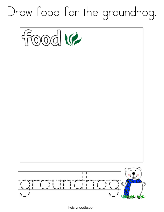 draw food for the groundhog coloring page
