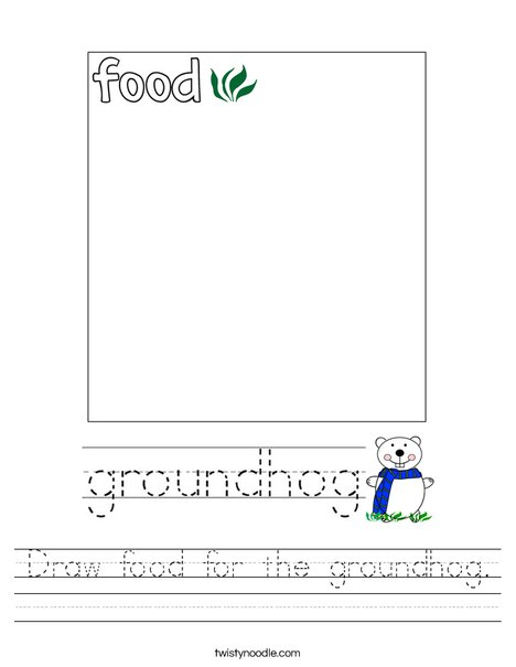 Draw food for the groundhog. Worksheet