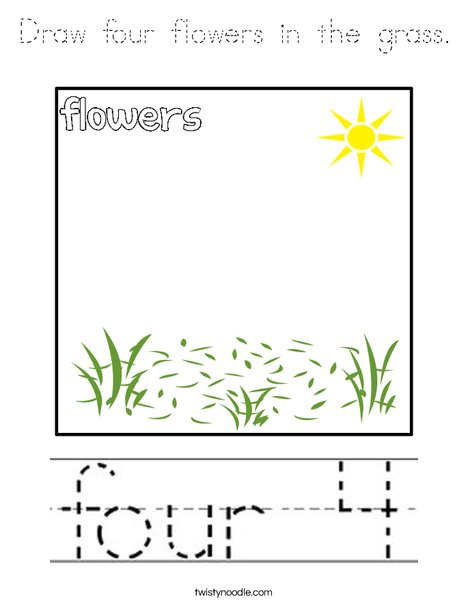 Draw four flowers in the grass. Coloring Page