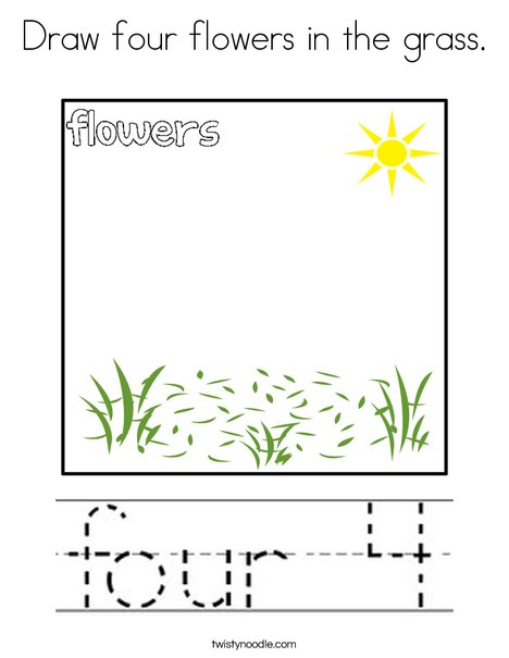 Draw Four Flowers In The Grass Coloring Page