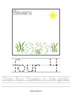 Draw four flowers in the grass Handwriting Sheet