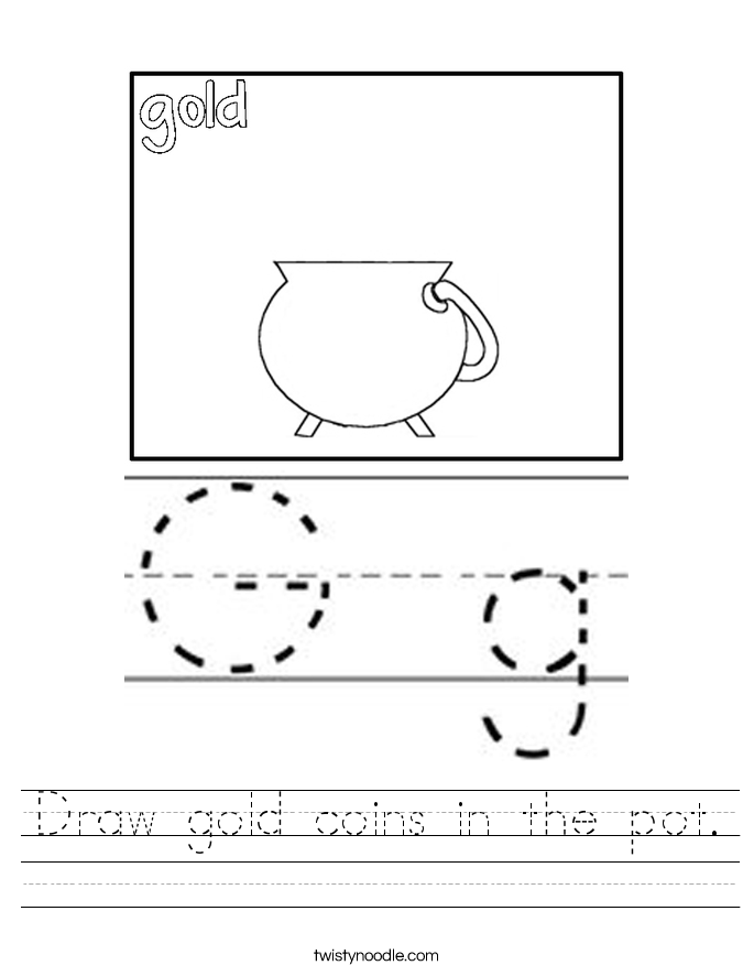 Draw gold coins in the pot. Worksheet
