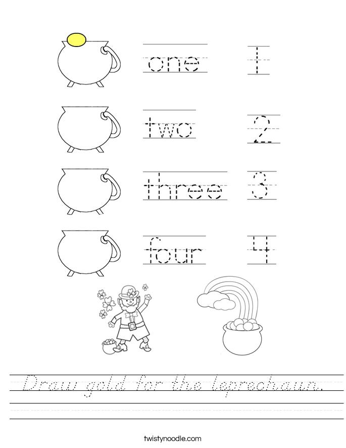 Draw gold for the leprechaun. Worksheet