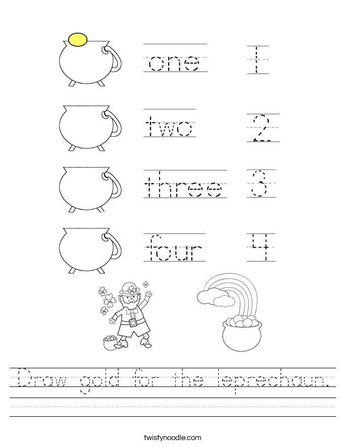 Draw gold for the leprechaun. Worksheet