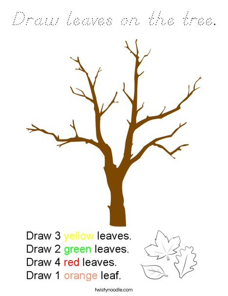 Draw leaves on the tree. Coloring Page