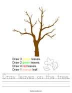 Draw leaves on the tree Handwriting Sheet