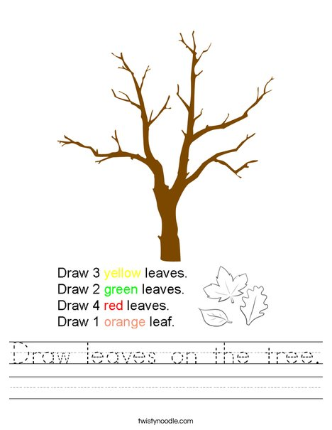 Draw leaves on the tree. Worksheet