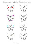Draw matching butterflies on the right Coloring Page