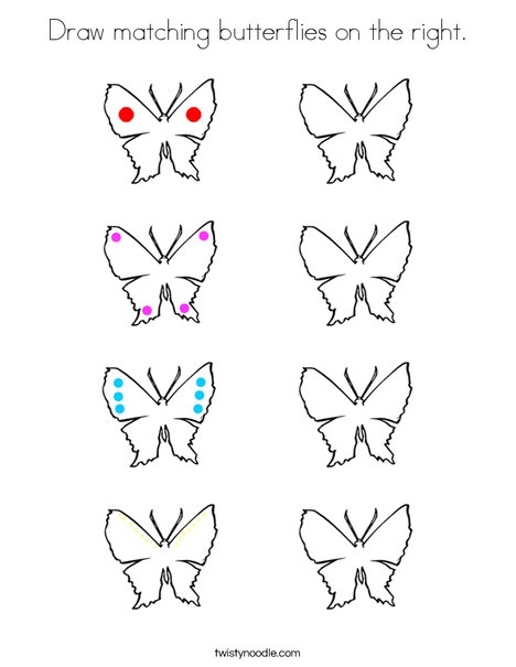 Draw matching butterflies on the right. Coloring Page