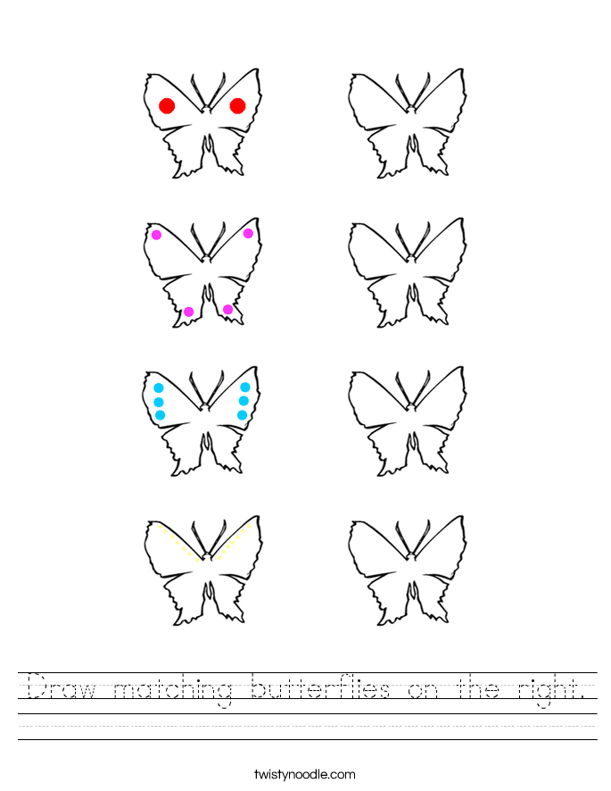 Draw matching butterflies on the right. Worksheet
