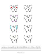 Draw matching butterflies on the right Handwriting Sheet