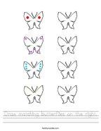 Draw matching butterflies on the right Handwriting Sheet