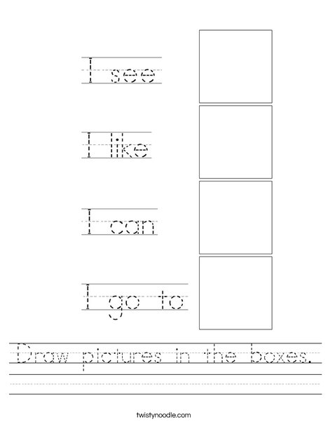 Draw pictures in the boxes. Worksheet