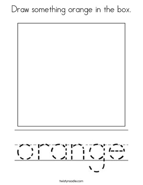 Draw something orange in the box. Coloring Page