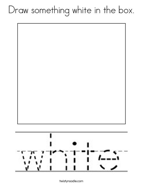 Draw something white in the box. Coloring Page