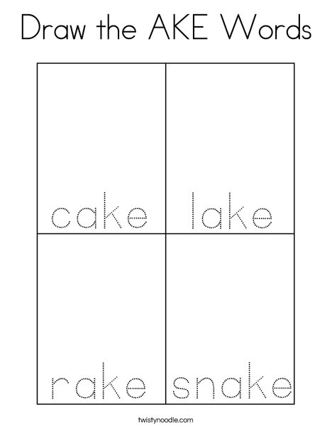 Draw the AKE Words Coloring Page