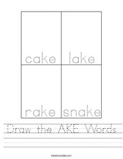 Draw the AKE Words Handwriting Sheet