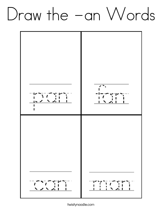 Draw the -an Words Coloring Page