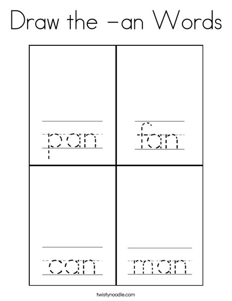 Draw the -an words. Coloring Page