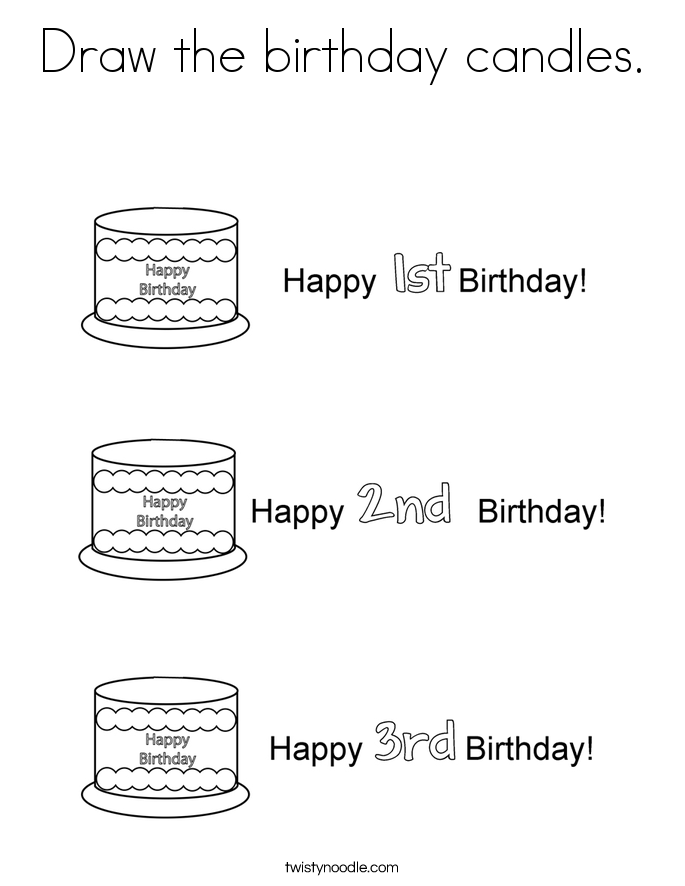 Draw the birthday candles. Coloring Page