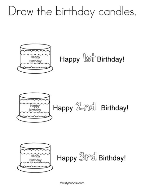 Draw the birthday candles Coloring
