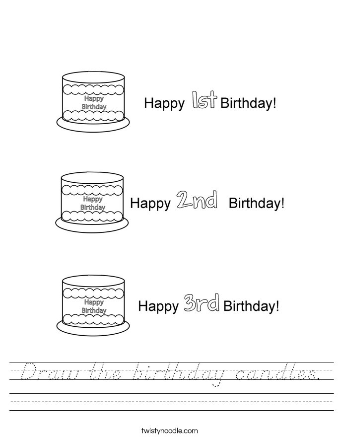Draw the birthday candles. Worksheet