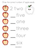 Draw the correct number of apple seeds. Coloring Page
