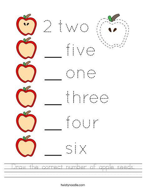 Draw the correct number of apple seeds. Worksheet