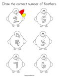 Draw the correct number of feathers. Coloring Page