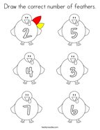 Draw the correct number of feathers Coloring Page