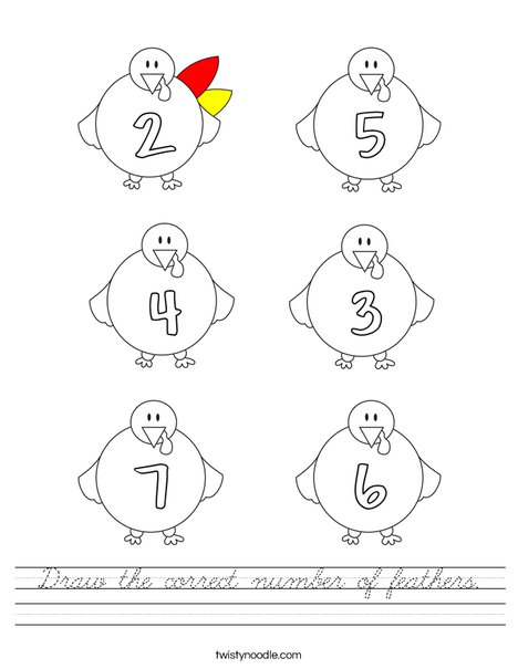 Draw the correct number of feathers. Worksheet