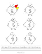 Draw the correct number of feathers Handwriting Sheet