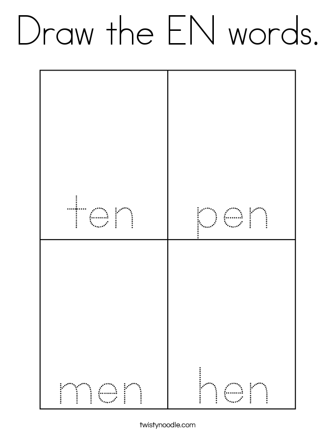 Draw the EN words. Coloring Page